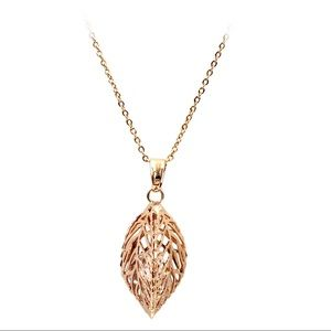Rose gold lady foliage crystal necklace